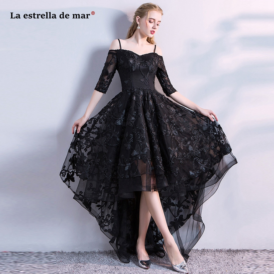 US $62.3 30% OFF|vestido formatura2018 New lace in the sleeve high low  black prom dresses plus size robe de bal longue cheap evening gowns-in Prom  ...
