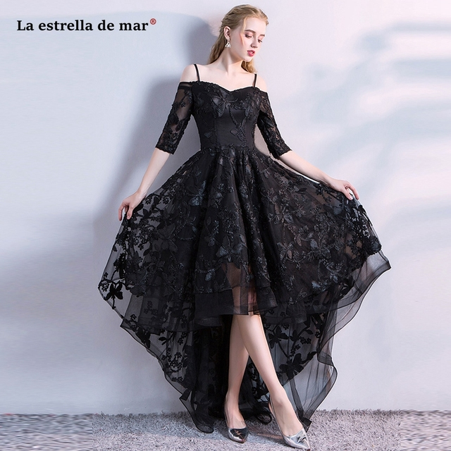 vestido formatura2018 New lace in the sleeve high low black prom ...
