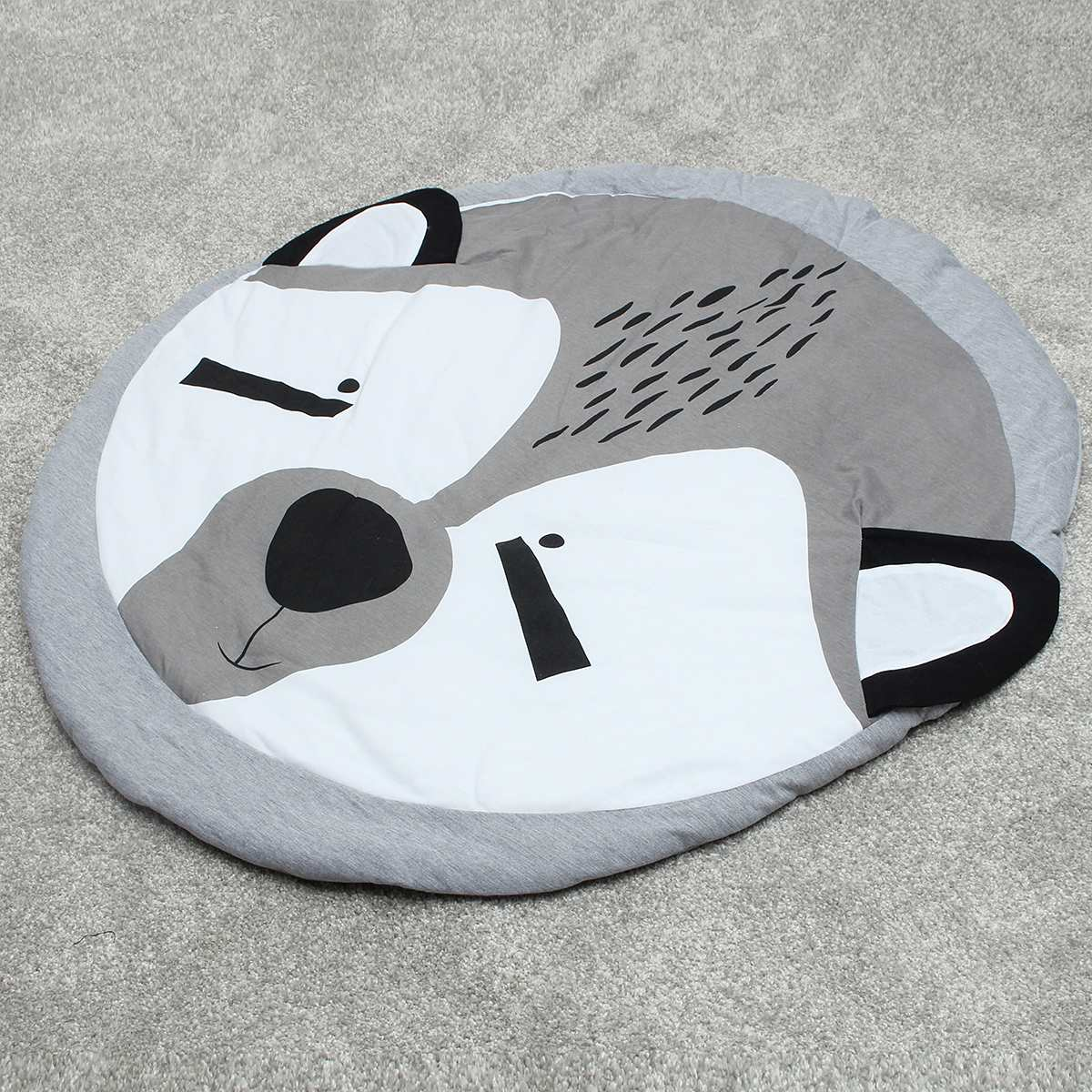 Soft 100% Cotton Kids Baby Infant Play Crawl Game Cartoon Mat Round Carpet Home