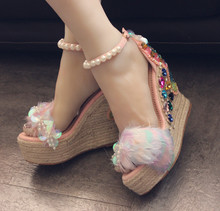 Luxury Colors Crystal Studded Rhinestone Sandals Hemp Rope Weaving Women Summer Shoes Pink Design Glitter Feather