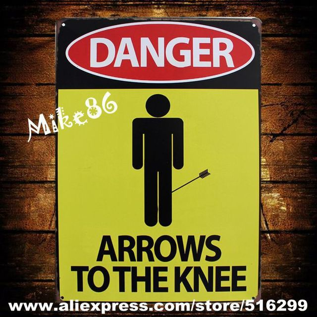 Mike86 ] DANGER ARROWS TO THE KNEE Metal Plaque Gift PUB Wall art ...