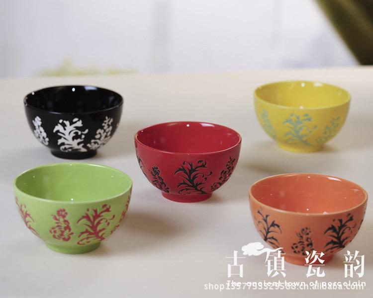 five-piece high-grade pigmented phoenix flower rice bowl set ceramic tableware kitchen supplies