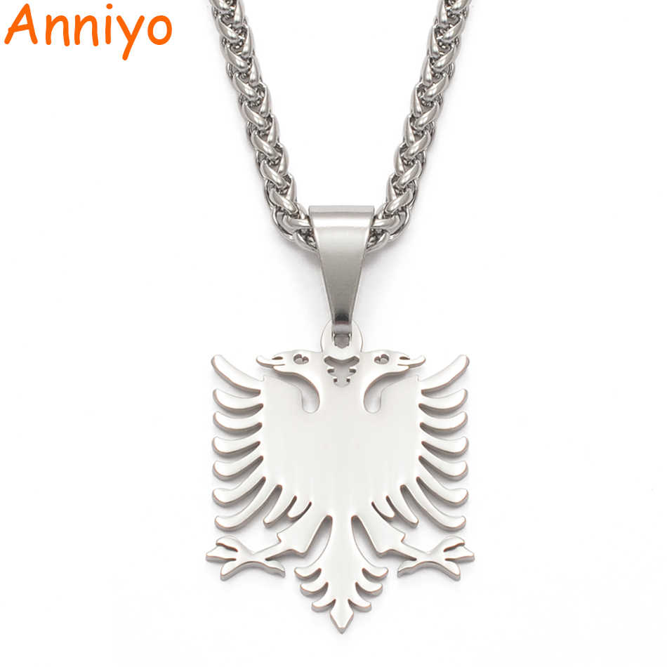 Anniyo Albania Eagle Pendant Necklaces Silver Polishing Stainless Steel Jewelry Ethnic Gifts for Women Men #109221