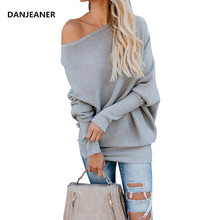 Danjeaner Sexy Off Shoulder Slash Neck Long Pullovers Autumn Winter Women Batwing Sleeve Solid Knitted Sweaters Plus Size Jumper