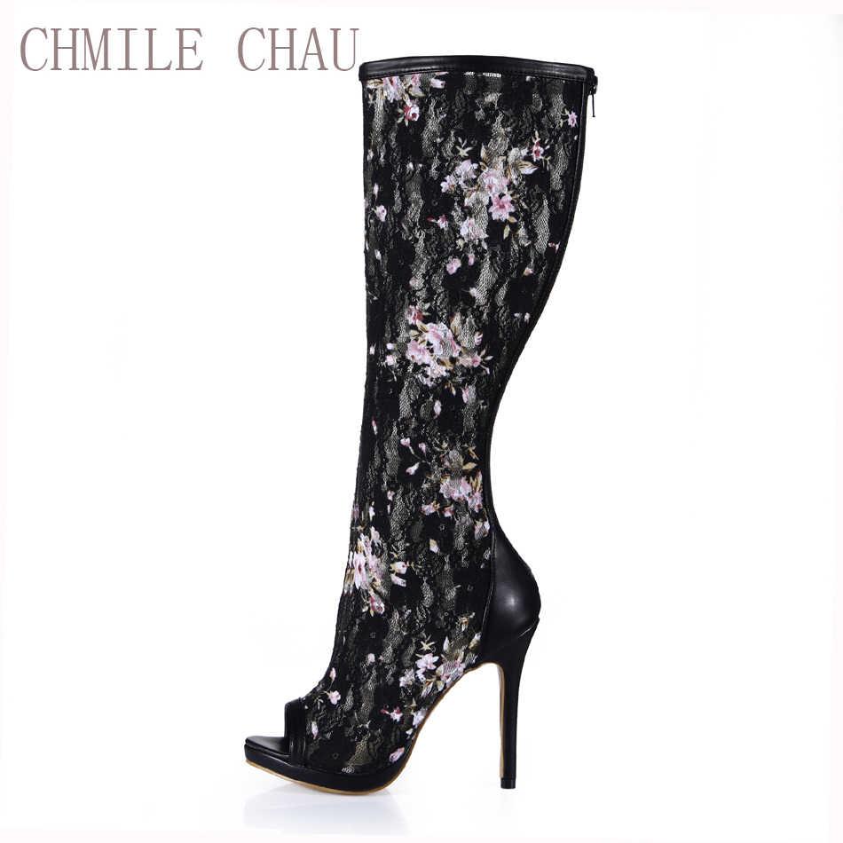 CHMILE CHAU Schwarz Mesh Sexy Party Schuh Frauen Peep Toe Stiletto High Heels Dame Knie-Hohe Boot Zapatos Mujer plus Größe 0640ABT-g4