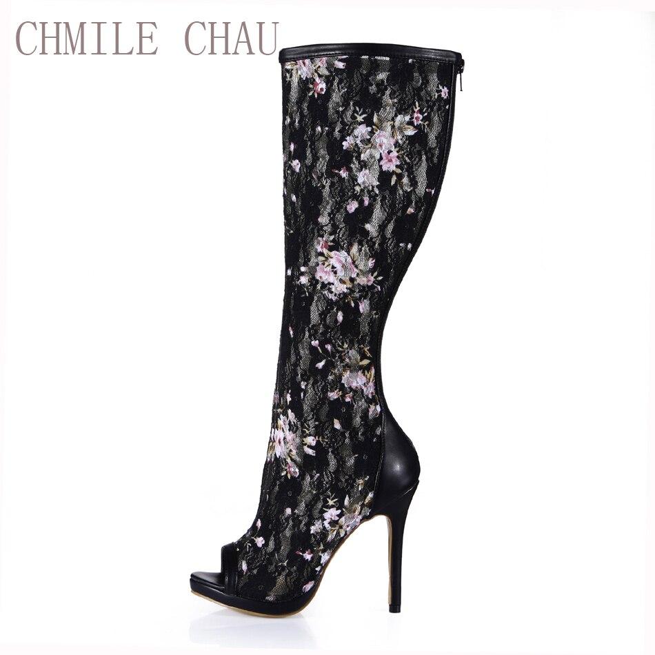 83d3e8a5 Sexy De Toe Chmile Altos Zapato Mujer Tacones Las Señora Peep Bota Stiletto  Mujeres Rodilla Plus Malla Tamaño Black Chau Zapatos Alta ...