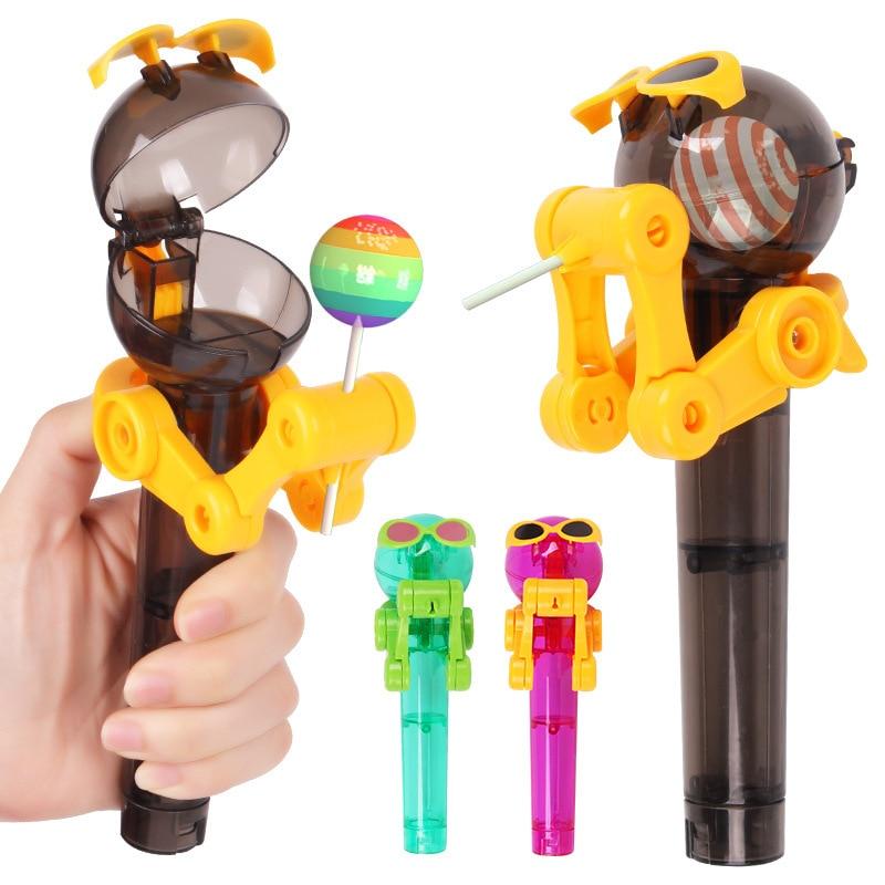 Robot Lollipop Holder Creative Funny Lollipop Candy Stand Saver Sucker Children Cute Novelty Toy Gift