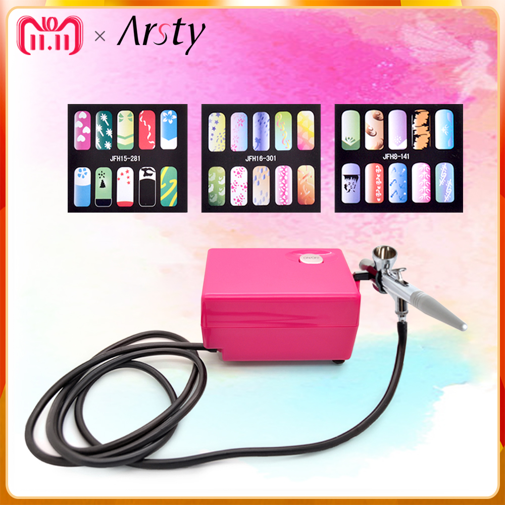 ARSTY Dual-action Airbrush Kit Pen Makeup Spray Gun for Nail Body Paint Art Drawing with Air Compressor+3 stencils as a gift midea electric kettle household kettle automatic power off 304 stainless steel genuine he1506b