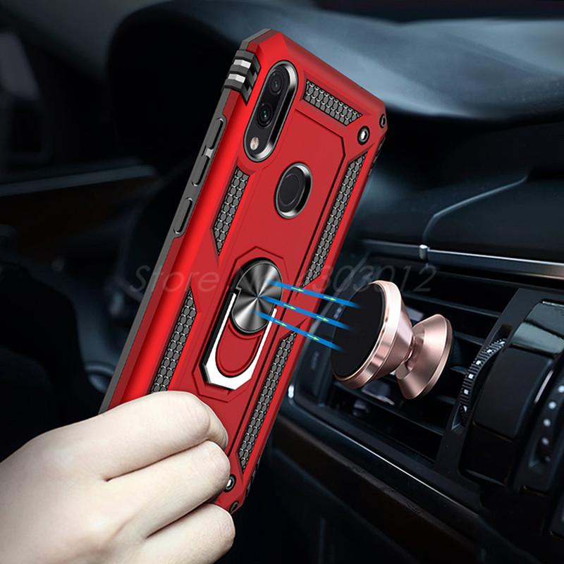 New Magnet Armor Shockproof Case For Xiaomi Redmi Note 7 Pro Case For Redmi 7 Xiaomi 9 SE Finger Ring Holder Phone Cover Coque in Fitted Cases from Cellphones Telecommunications