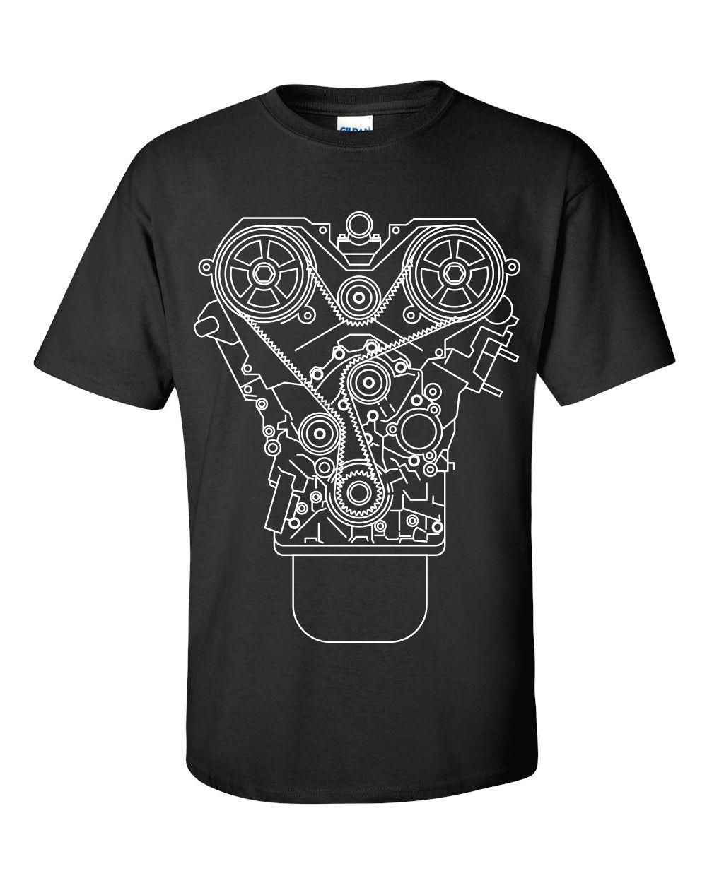 100% Cotton Brand New ENGINE DESIGN T-shirt Black S-3XL JDM Tuner Decal Mechanic Tool Garage Piston Summer Tee Shirt