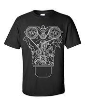 100% algodão marca novo design do motor camiseta preto S 3XL jdm tuner decalque mecânico ferramenta garagem pistão camisa de verão