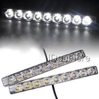 2x9W 12V 9 LED High Power Clear Lens DRL Daytime Running Light Super Bright White Lamp