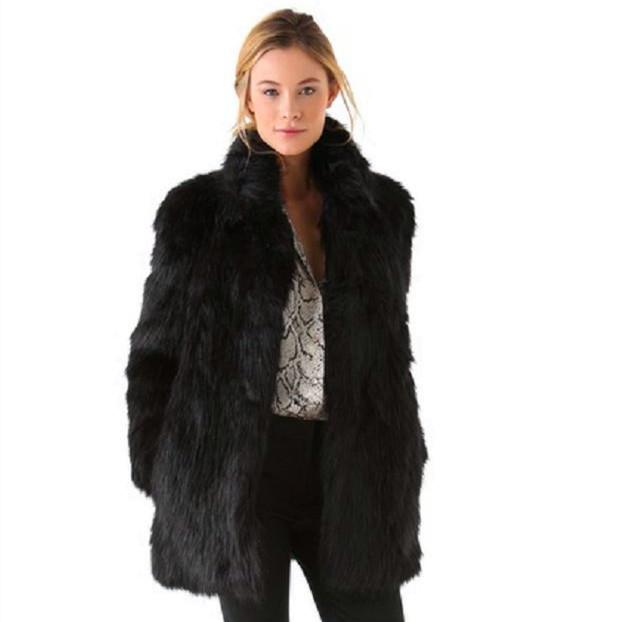 D'hiver Noir Wenhua De Long Femelle Taille À Manteau Grande Fausse Longues Femmes Fourrure Col Mode Manches Black Dames Mince q0wBdB
