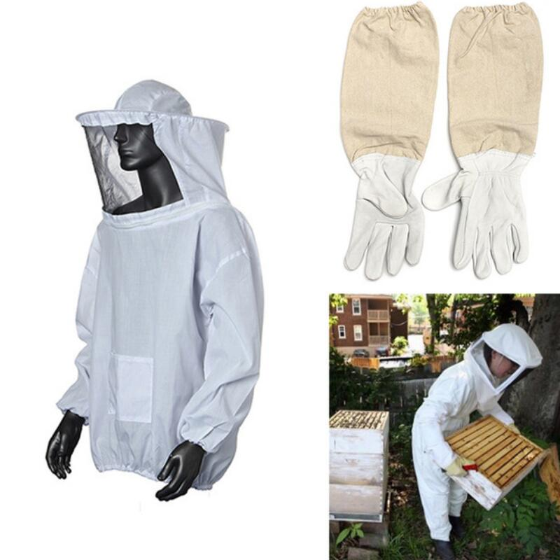 High Quality Protective Bee Keeping Jacket Veil Suit Smock Equipment+1 Pair Beekeeping Long Sleeve Gloves+1 pcs Brush+1 pcs Hive