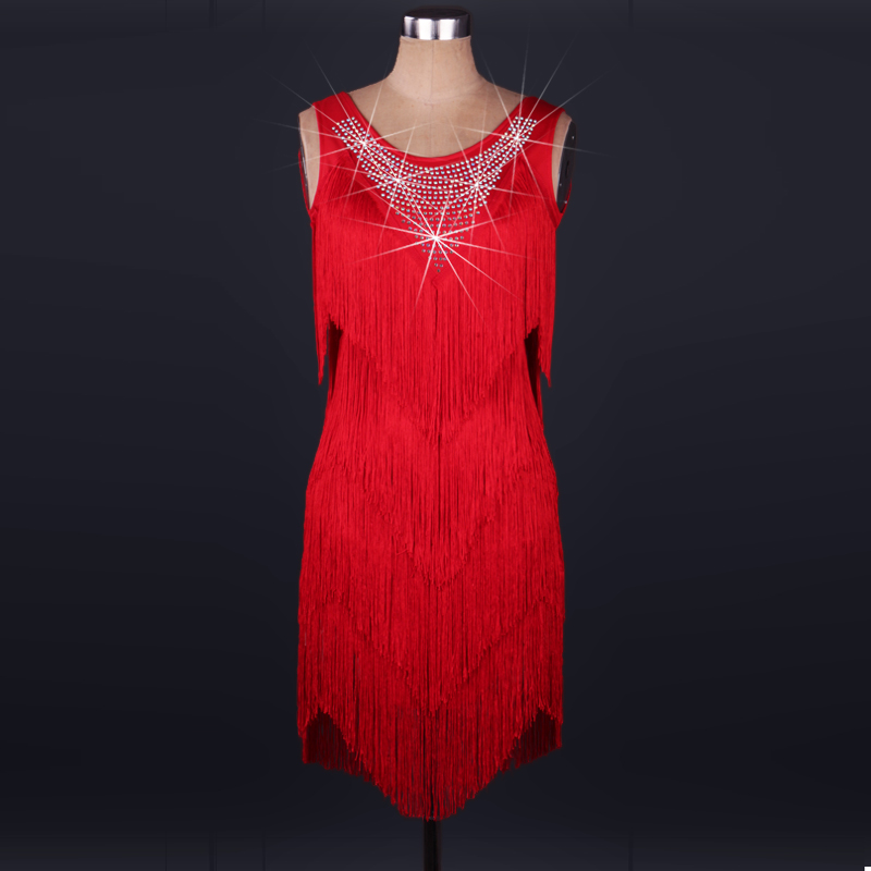 10 colors bule/red women requins tassel Latin Dance Dress rhinestone Modern Dancing Dress Tango/Cha cha/Rumba Competition Dress