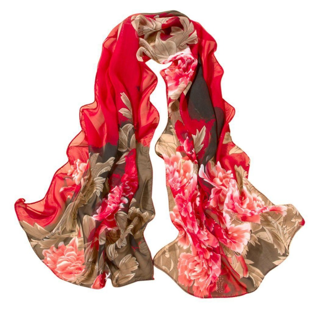 Autumn Chiffon Floral Printed   Scarf     Wrap   for Women Fashion Flower 160cm Scaves Shawl Wholesale