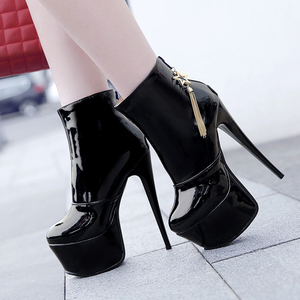 Image 1 - Sexy High Heels Ankle Boots For Women Shoe Fashion Platform PU Leather Short Boots White Red Party Fetish Shoes Large Size 45 47