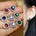 Allergic Free Women's 925 Sterling Silver Pin Simulated Diamond CZ Stone Triangle Earrings Studs Sapphire Emerald Ruby