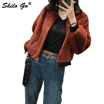 SHILO GO Fur Coat Womens Winter Fashion whole real Mink Fur Short coat O Neck Puff Zipper loose brown locomotive jacket Косуха