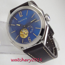 Luxury parnis 43mm Blue Dial Luminous Hands Steel Case Leather strap 2019 New Sapphire Glass Automatic Movement mens Watch