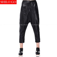 Plus size fashion spring women high quality Sheepskin low waist tidal style street style Cross pants Genuine Leather pants XXXL