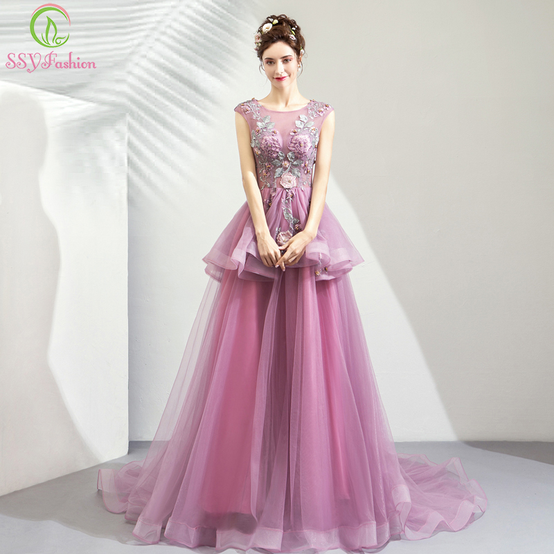 SSYFashion New Luxury Purple Pink Evening Dress Robe De Soiree Sleeveless Sweep Train Lace Embroidery Party Formal Prom Gown