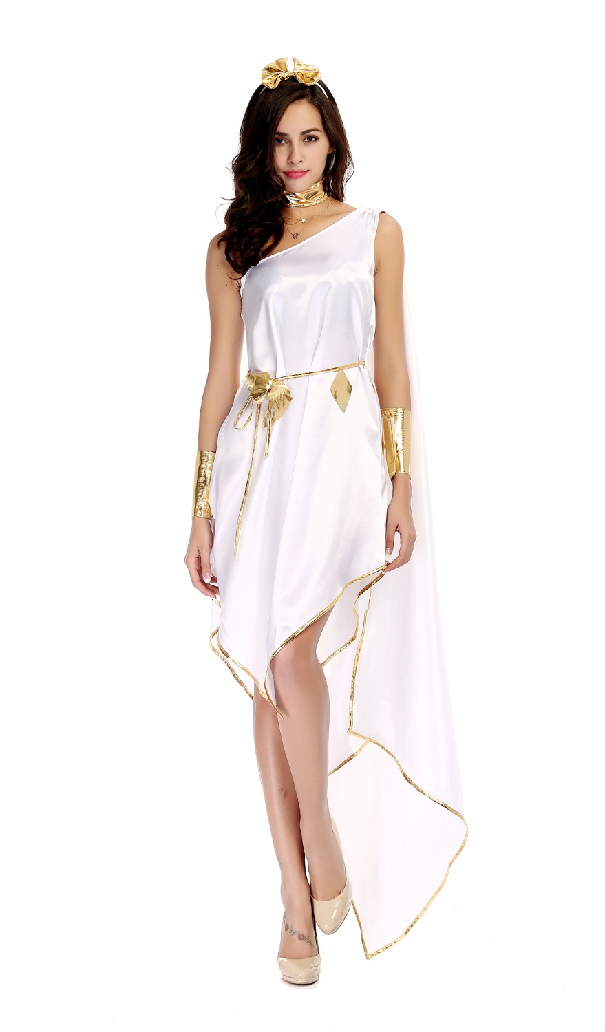 Greek Goddess Halloween White Goddess Exquisite Irregular Dress Uniform Temptation Women Sexy costume Full Sets