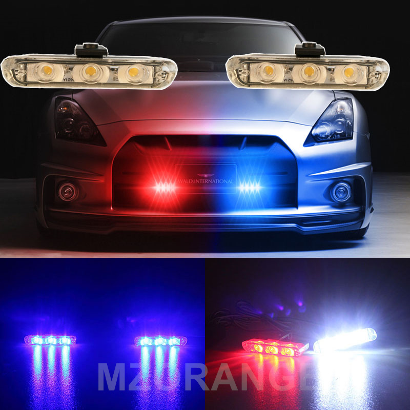 MZORANGE Strobe Light 2x3 Led Ambulance Car Truck DRL Nødblinkende brandmænd DC 12V Auto LED Advarselsdaglys Billys