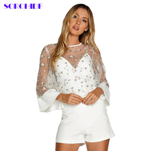 Sorchidf 2017 Women's Blouses Tops Beige Crochet Trim Flower Embroidered Mesh Top Summer Round Neck Vintage Blouse