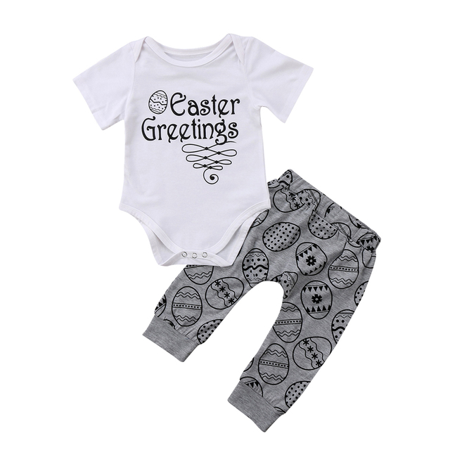 5a6b5959c 2018 Newborn Toddler Baby Boy Girl 2pcs Clothes Short Sleeves Easter ...