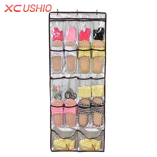 18/22 Pockets Wall Mounted Shoes Hanging Organizer Bedroom Shoe Rack Clear  Over Door