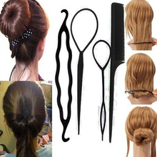 Women's 4Pcs Hair Twist Styling Clip Stick Bun Maker Braid Tool Hair Accessories