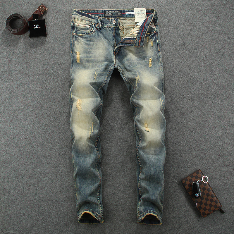 Designer Men`s Jeans Vintage Grinding Yellow Process Skinny High Quality Fit Retro Ripped Moto Biker Jeans Men Distressed Pants genuine oem high pressure sensor for john deere 504381065 d815
