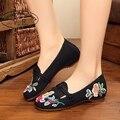 Старинные Вышивки Женская Обувь Старый Пекин Китайский Холст Квартиры Национальный Одноместный танцевальная обувь размер 34-41