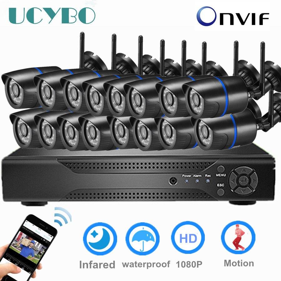 16ch cctv kit sistema de segurança câmera ip sem fio 1080 P 8ch 4ch video surveillance outdoor 5MP nvr wi-fi de segurança em casa conjunto câmera
