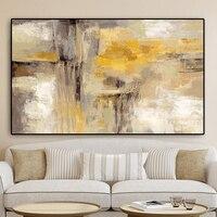 Grande tamanho de ouro abstrata pintura a óleo sobre tela escandinavo cartazes e impressões da arte parede imagem para sala estar decoração casa Pintura e Caligrafia     -