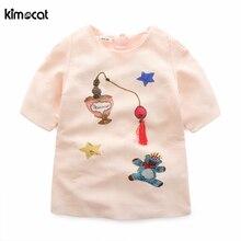 Kimocat Girls Summer Dress Hand-made diamond slap-up Cartoon bear Appliques Sleeveless Kids Clothing Children Costumes Cotton