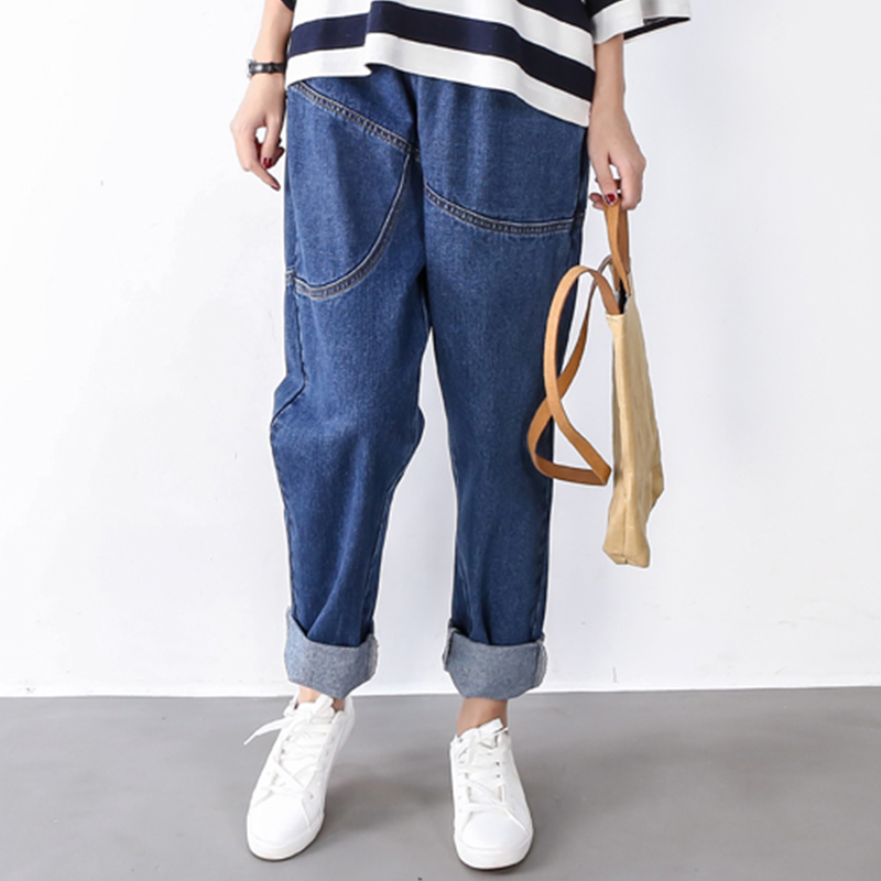 Plus Size Womens Cavallo basso Harem Dei Jeans Delle Signore Pantaloni  Jeans Sciolto Elastico In Vita Cavallo Basso Jeans Denim Blu Nero in Plus  Size Womens ... de29d64bdf4e
