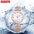 DOM Women's Fashion Mesh steel belt Watches Womens Females Antique Geneva Quartz-watch Ladies Brands Wristwatch Relojes Mujer