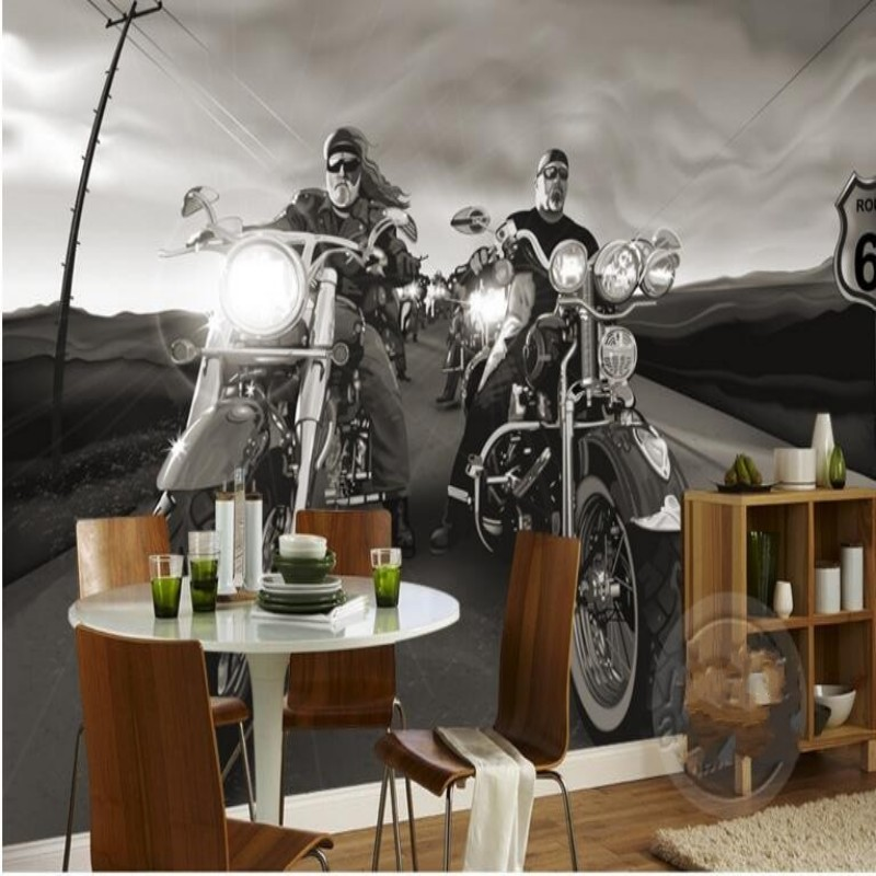 Custom 3D Wallpaper Retro Harley Davidson Motorcycle Knight Mural Bar Cafe  KTV TV Backdrop Wallpaper Mural Beibehang  In Wallpapers From Home  Improvement On ...