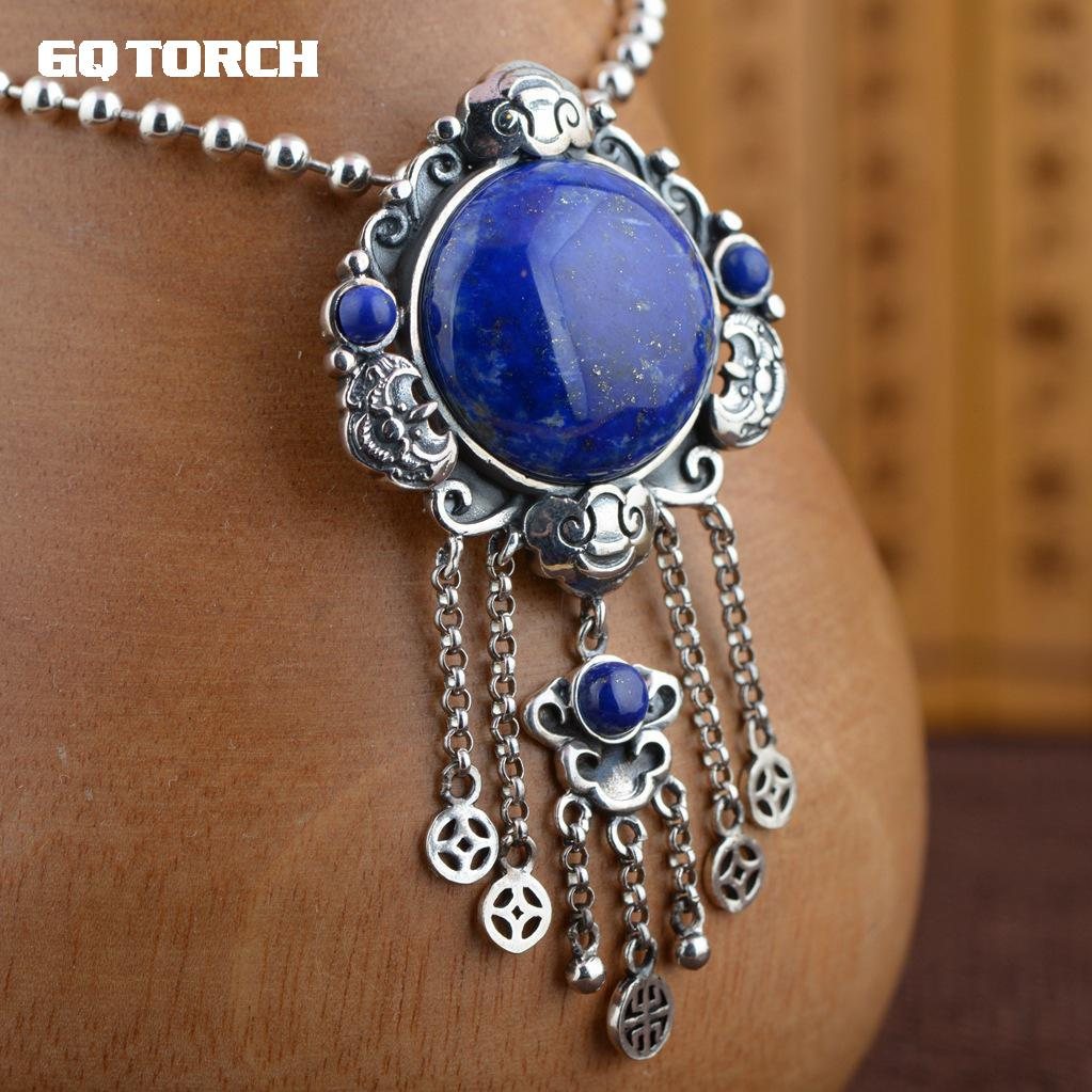 GQTORCH Natural Lapis Lazuli Pendant 925 Sterling Silver Tassel Pendant Hollow Flower Design Old Chinese Coins Shape