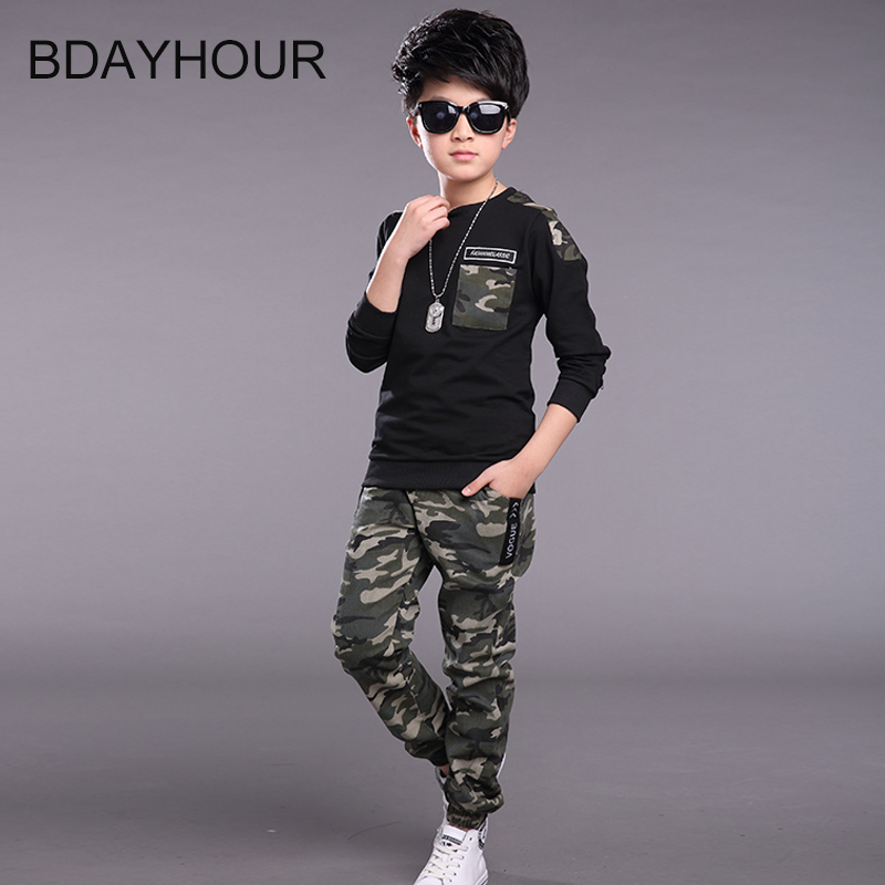 Rib bott Long Sleeve O-Neck Outdoor Sports Camouflage Boy Sets Sweater+Pants 2017Spring New Active Climbing Boys Sets5-15Years