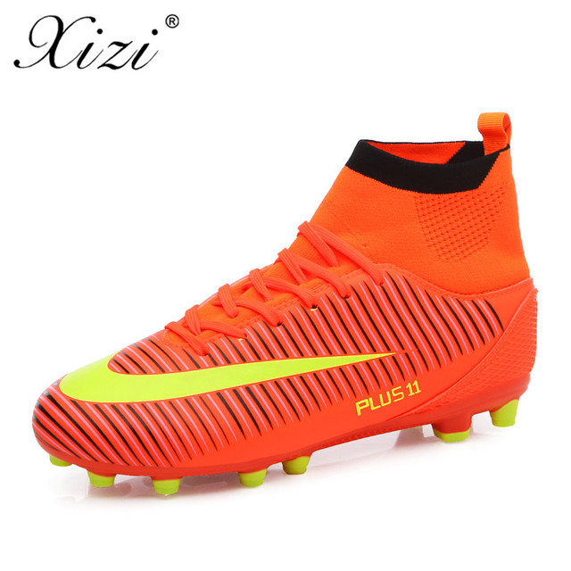 920d62ec3083 XIZI 2018 New Men Soccer Shoes Men Long Spikes Spike Football Boots High  Ankle Cleats Sneakers Outdoor High Soccer Sport Shoes