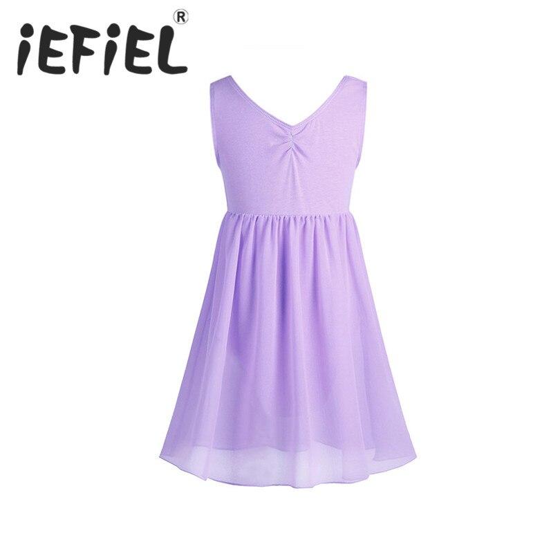 iEFiEL Kids Girls Cotton Chiffon Sleeveless Ballet Dance Gymnastics Leotard Dress for Performance Ballet Class Dancewear Clothes