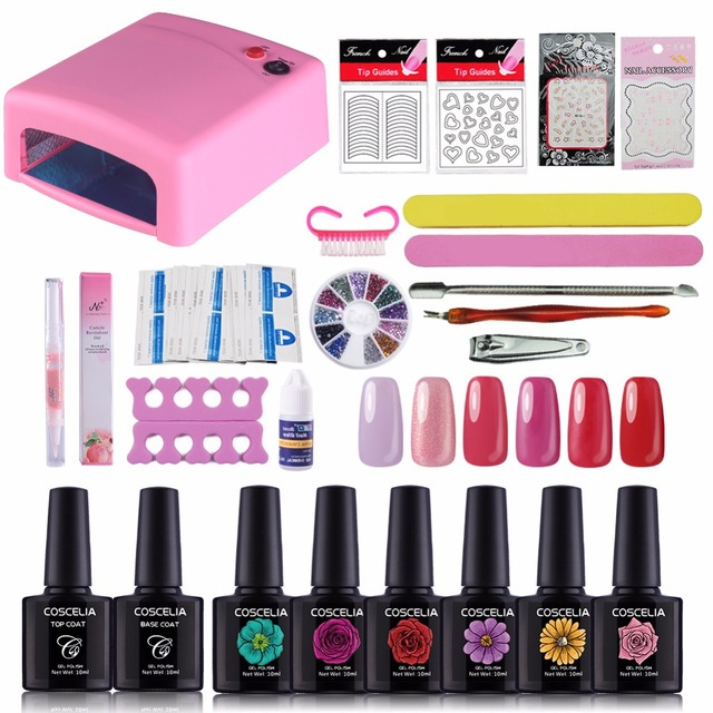 Coscelia Gel Nail Polish Nails Set 36w Uv Lamp Stamping Tools Sing Manicure