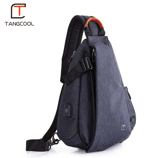 Tangcool Men Casual USB Charging Messenger Bag Fashion Men Shoulder Travel Chest Bag Pack Anti Theft Crossbody bags 1