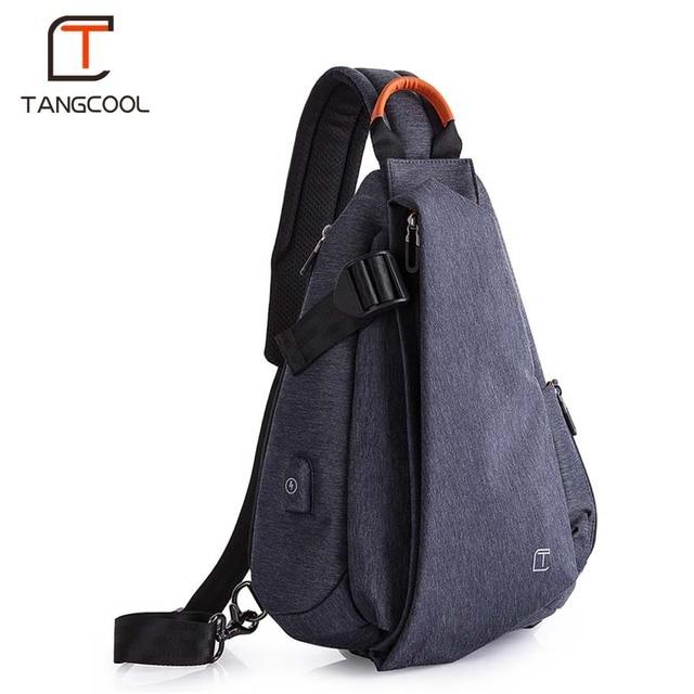 Tangcool Men Casual USB Charging Messenger Bag Fashion Men Shoulder Travel Chest Bag Pack Anti Theft Crossbody bags 1