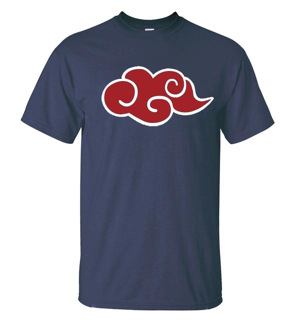 Anime Naruto Akatsuki Red Cloud Men Short Sleeve Shirt 100% Cotton T-Shirts