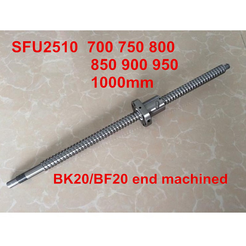 1pc SFU2510 - 700 750 800 850 900 950 1000mm ballscrew + ball nut with BK20 / BF20 end machined CNC parts1pc SFU2510 - 700 750 800 850 900 950 1000mm ballscrew + ball nut with BK20 / BF20 end machined CNC parts