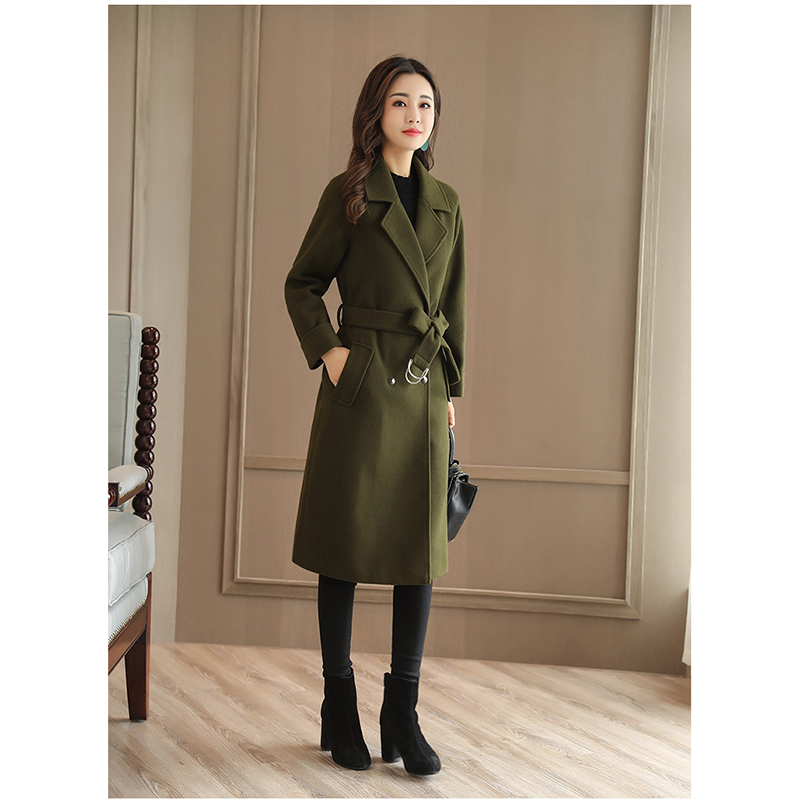 Woolen Jacket Female 2019 New Winter Long Section Large Size Loose Double-breasted Black Thick Woolen Coat A248